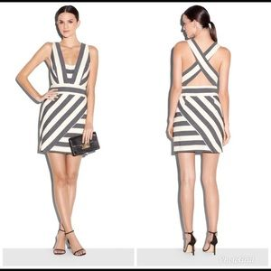 MILLY graphic-striped crisscross-back dress